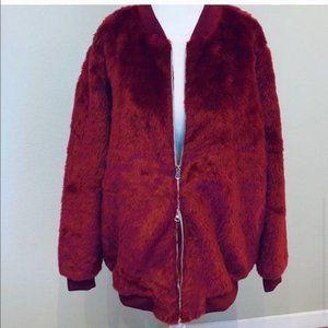 JustFab Faux Fur Oversized BOMBER Jacket